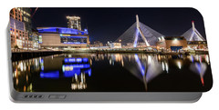 Td Garden And The Zakim Bridge At Night Portable Battery Charger