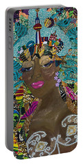 Portable Battery Charger featuring the tapestry - textile Tdot Caribana by Apanaki Temitayo M