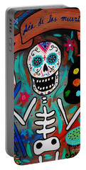 Portable Battery Charger featuring the painting Te Amo Painter Dia De Los Muertos by Pristine Cartera Turkus