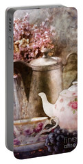 Portable Battery Charger featuring the painting Tea And Grapes by Mo T