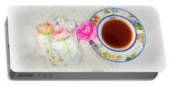 Tea And Journals With Ranunculus Portable Battery Charger