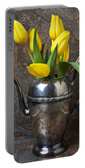 Tea Pot And Tulips Portable Battery Charger
