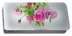 Portable Battery Charger featuring the painting Tea Rose by Beatrice Cloake
