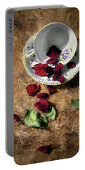 Teacup And Red Rose Petals Portable Battery Charger