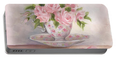 Teacup And Saucer Rose Shabby Chic Painting Portable Battery Charger