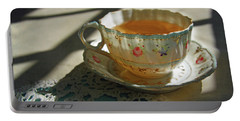 Portable Battery Charger featuring the photograph Teacup On Lace by Brooke T Ryan