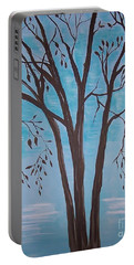 Portable Battery Charger featuring the painting Teal And Brown by Leslie Allen