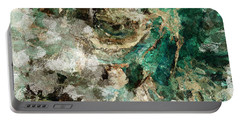 Portable Battery Charger featuring the painting Teal And Cream Abstract Painting by Ayse Deniz