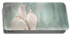 Teal And White Art Portable Battery Charger