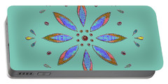 Teal Flower Portable Battery Charger