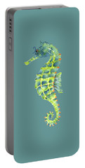 Teal Green Seahorse - Square Portable Battery Charger