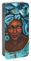 Portable Battery Charger featuring the painting Teal Headwrap by Alga Washington
