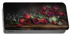 Portable Battery Charger featuring the digital art Teapot Roses by Susan Kinney