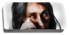 Tearful Woman With Injuries Portable Battery Charger