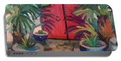 Portable Battery Charger featuring the painting Tecate Garden Gate by Diane McClary