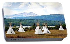 Portable Battery Charger featuring the photograph Tee Pee At Glacier by Marty Koch