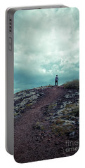 Portable Battery Charger featuring the photograph Teenager On A Hiking Trail In Iceland by Edward Fielding