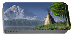 Portable Battery Charger featuring the digital art Teepee By A Lake by Daniel Eskridge