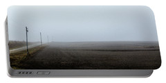 Telephone Poles Along A Foggy Field Portable Battery Charger