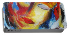 Portable Battery Charger featuring the painting Tell Me - I Listen You by Nina Mitkova
