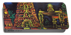 Temple Lights In The Night Portable Battery Charger by Brindha Naveen