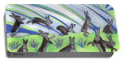 Portable Battery Charger featuring the painting Ten Leaping Hares by Denise Weaver Ross