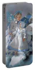 Portable Battery Charger featuring the painting Tenderness Snow Fairies by Nancy Lee Moran