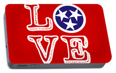 Portable Battery Charger featuring the digital art Tennessee Flag Love by Heather Applegate