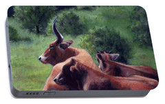 Portable Battery Charger featuring the painting Tennessee Longhorn Steers by Janet King