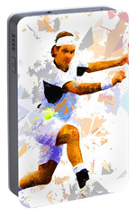 Portable Battery Charger featuring the painting Tennis 114 by Movie Poster Prints