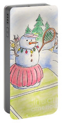 Portable Battery Charger featuring the drawing Tennis Snowlady by Vonda Lawson-Rosa