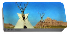 Tepee In Badlands Portable Battery Charger by Teresa Zieba