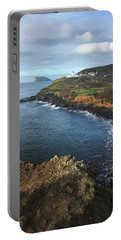 Portable Battery Charger featuring the photograph Terceira Island Coast With Ilheus De Cabras And Ponta Das Contendas Lighthouse  by Kelly Hazel