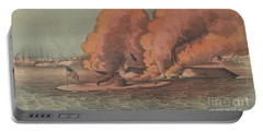 Terrific Combat Between The Monitor And Merrimac At Hampton Roads, 1862 Portable Battery Charger