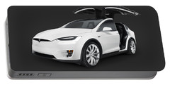Tesla Model X Luxury Suv Electric Car With Open Falcon-wing Doors Art Photo Print Portable Battery Charger