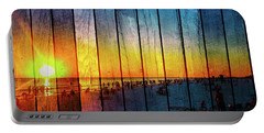 Siesta Key Drum Circle Sunset - Wood Plank Look Portable Battery Charger