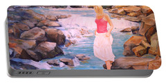 Portable Battery Charger featuring the painting Testing The Water by Alan Lakin