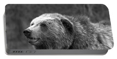 Teton Toothy Grizzly Smile Black And White Portable Battery Charger