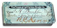 Portable Battery Charger featuring the drawing Texas And California Stage Company Boston And New York Air Line Railroad Ticket 19th Century by Peter Gumaer Ogden