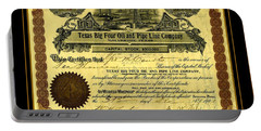 Portable Battery Charger featuring the drawing Texas Big Four Oil And Pipeline Company Stock Certificate 1901 With Oil Field And Tanker Train Scene by Peter Gumaer Ogden