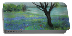Portable Battery Charger featuring the painting Texas Bluebonnet Trail by Robin Maria Pedrero