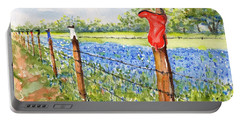 Portable Battery Charger featuring the painting Texas Bluebonnets Boot Fence by Carlin Blahnik CarlinArtWatercolor