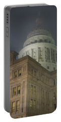 Texas Capitol In Fog Portable Battery Charger