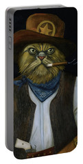 Texas Cat With An Attitude Portable Battery Charger by Leah Saulnier The Painting Maniac
