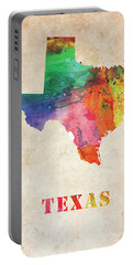 Texas Colorful Watercolor Map Portable Battery Charger
