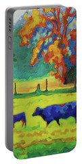 Texas Cow And Calf At Sunset Print Bertram Poole Portable Battery Charger by Thomas Bertram POOLE