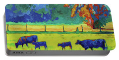 Portable Battery Charger featuring the painting Texas Cows And Calves At Sunset Painting T Bertram Poole by Thomas Bertram POOLE