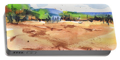 Texas Landscape In Watercolor Painting By Kmcelwaine Portable Battery Charger by Kathleen McElwaine
