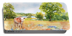 Portable Battery Charger featuring the painting Texas Longhorn And Bluebonnets by Carlin Blahnik CarlinArtWatercolor