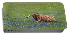 Texas Longhorn And Bluebonnets Portable Battery Charger
